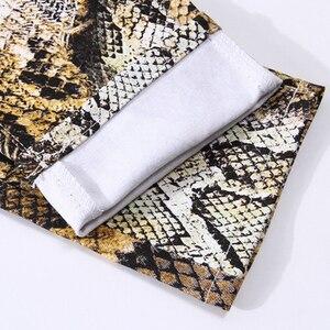 Image 5 - Sokotoo Mens fashion snakeskin print jeans Slim colored stretch denim pants for man