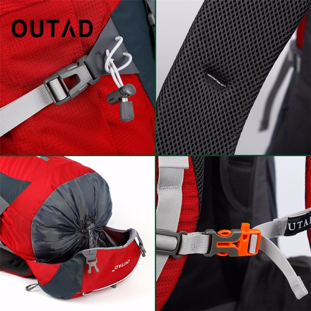 OUTAD 60+5L Outdoor Water Resistant Nylon Sport Backpack Hiking Bag Camping Travel Pack Mountaineer Climbing Sightseeing Hike - 6