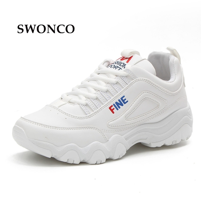 dd0b980c0 SWONCO Women s Vulcanize Shoes Lady Casual White Shoe Women Sneaker Leisure  Thick Soled Shoes Flats Lace Up Sneakers Woman Shoe