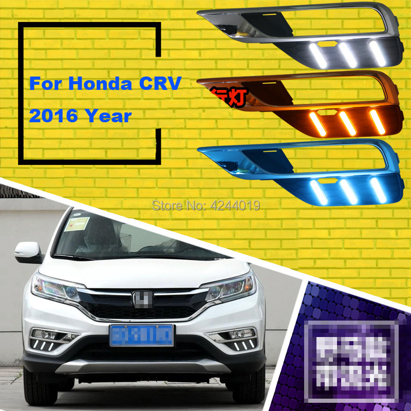 Fits 2016 Honda CRV Day Light Fog Lights Fog Lamps LED Driving Light DRL Daytime Running Lights Yellow Turn Signal tcart for toyota rav4 2016 2017 drl daytime running light with turn signal light function headlight fog lights led car day light