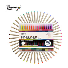 Bianyo 2017 Art Marker Pen 0.3mm Drawing Set Colors Watercolor Pens 48/ Box Hand-Painted Hook Pen Set Markers School Supplies black card white highlight marker pens art hand painted pen sketch pens for diy drawing graffiti art supplies school stationery