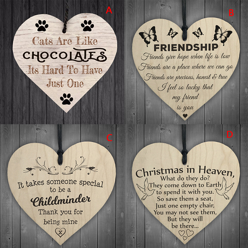 Christmas Wooden Hanging Gift Plaque Pendant Heart Shape Letter Friendship Wine Bottle Decor Pendant Tags LOVE Wood Chip Pendant