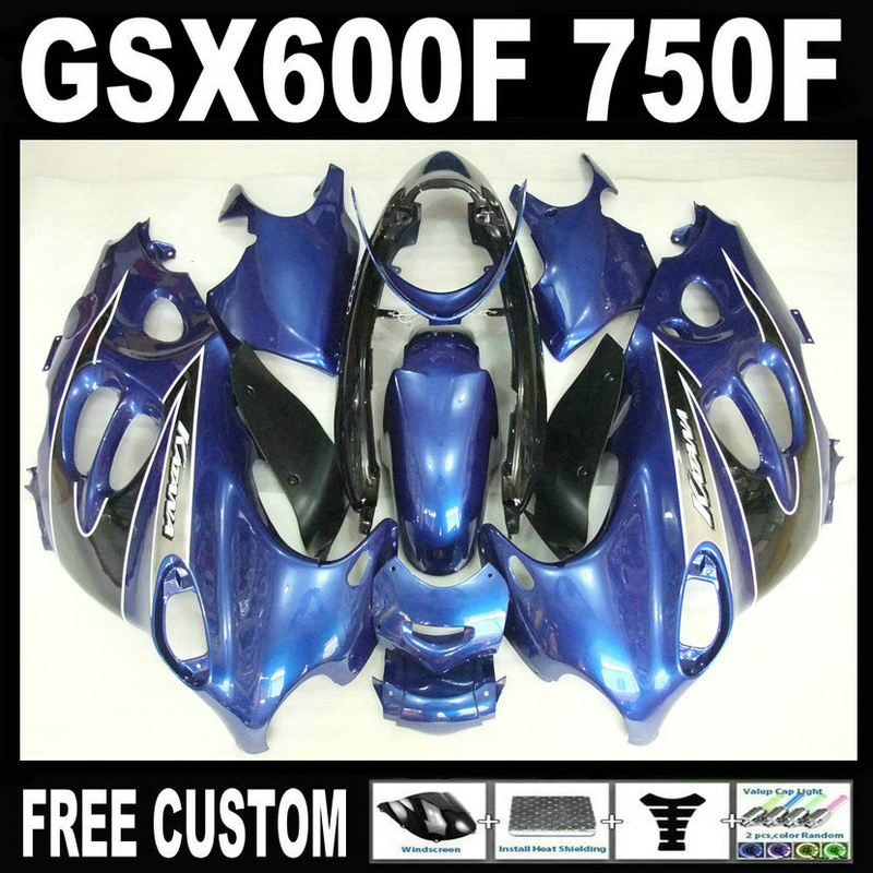 Aftermarket body parts fairing kit for Suzuki GSX 600F 750F 95 96 97-05 blue black fairings set GSX600F 1995 1996-2005 LM15 lowest price fairing kit for suzuki gsxr 600 750 k4 2004 2005 blue black fairings set gsxr600 gsxr750 04 05 eg12