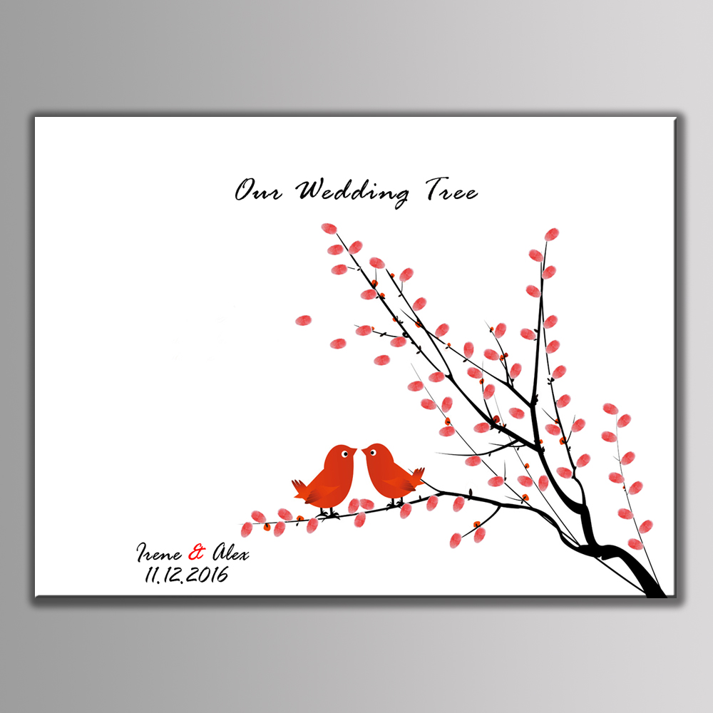 2017 Creative Love Birds Wedding Signs Fingerprint Tree Signature Canvas Print Wedding Decoration Wedding ingerprint Signature
