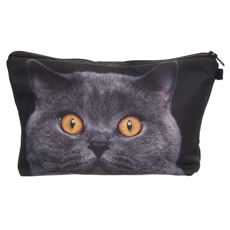 Women Neceser Portable Make Up Bag Case 3D Printing British Blue Cat Organizer Bolsa feminina Travel Toiletry Bag Cosmetic Bag