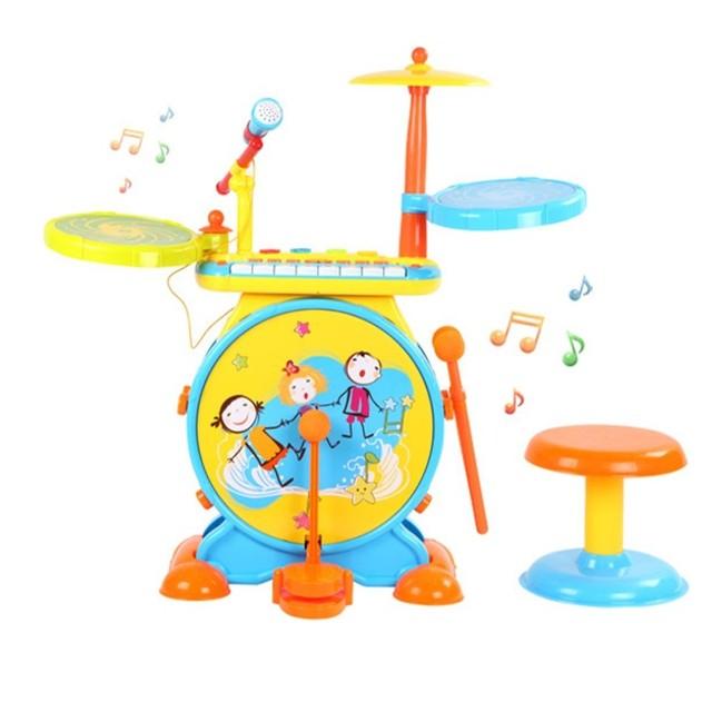 Crianças Drum Set Brinquedo Cedo Educação Percussão Instrumento Musical Brinquedo Grande Presente Boa Embalagem Da Caixa de Três Estilos de Música