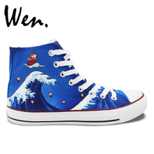 Wen Anime Hand Painted Shoes Design Custom Ponyo Men Women's Blue High Top Canvas Sneakers for Presents