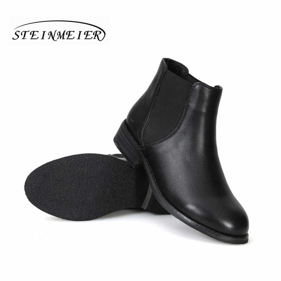 Kadın hakiki inek Deri siyah yarım çizmeler vintage retro Rahat yumuşak el yapımı kadın bahar kısa çizmeler Ayakkabı