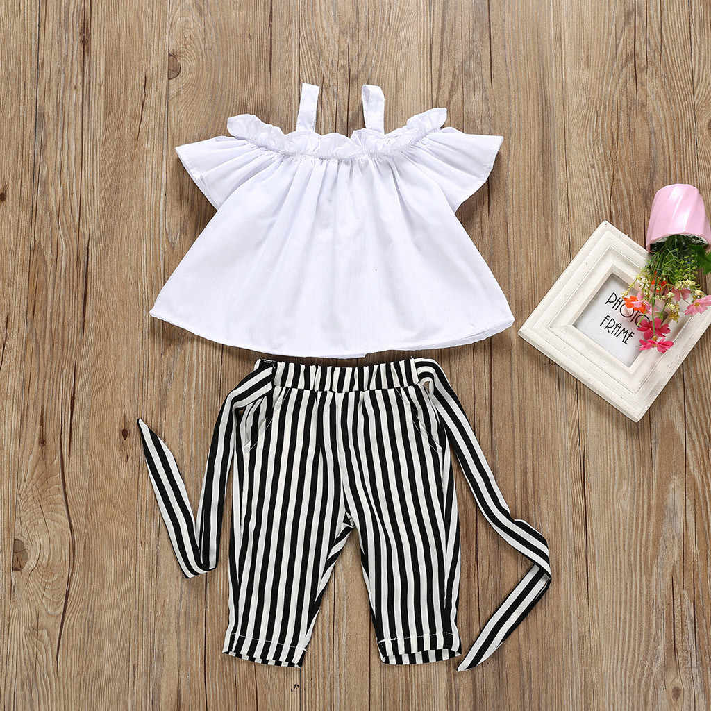 53c3ccfc3 ... Summer kids fashion clothes Baby Girl Outfit Solid Lace T shirt Sling  Vest Tops+Halter ...