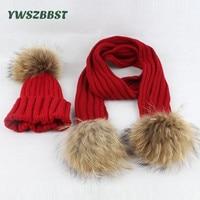 Fashion Raccoon Fur Balls Baby Hat Scarf set Autumn Winter Warm Baby Girl Hats Baby Boys Hat 1 5Y Kids Children Cap Scarves set
