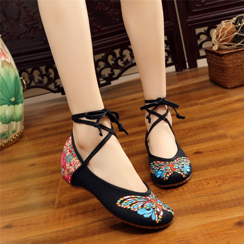 Women Flats Shoes Butterfly Embroidery O