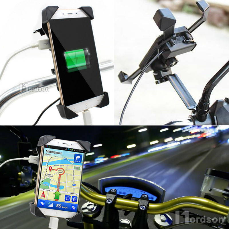 Universal Motorcycle Charger Cell Phone Mount Holder Clamp with USB Charger For Electric Bicycle Scooter ATV GPS Holder
