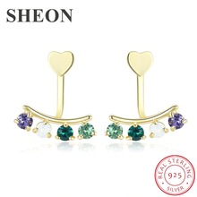 SHEON Luxury 925 Sterling Silver Dazzling Multicolor Crystal Stud Earrings For Women Authentic Earring Jewelry
