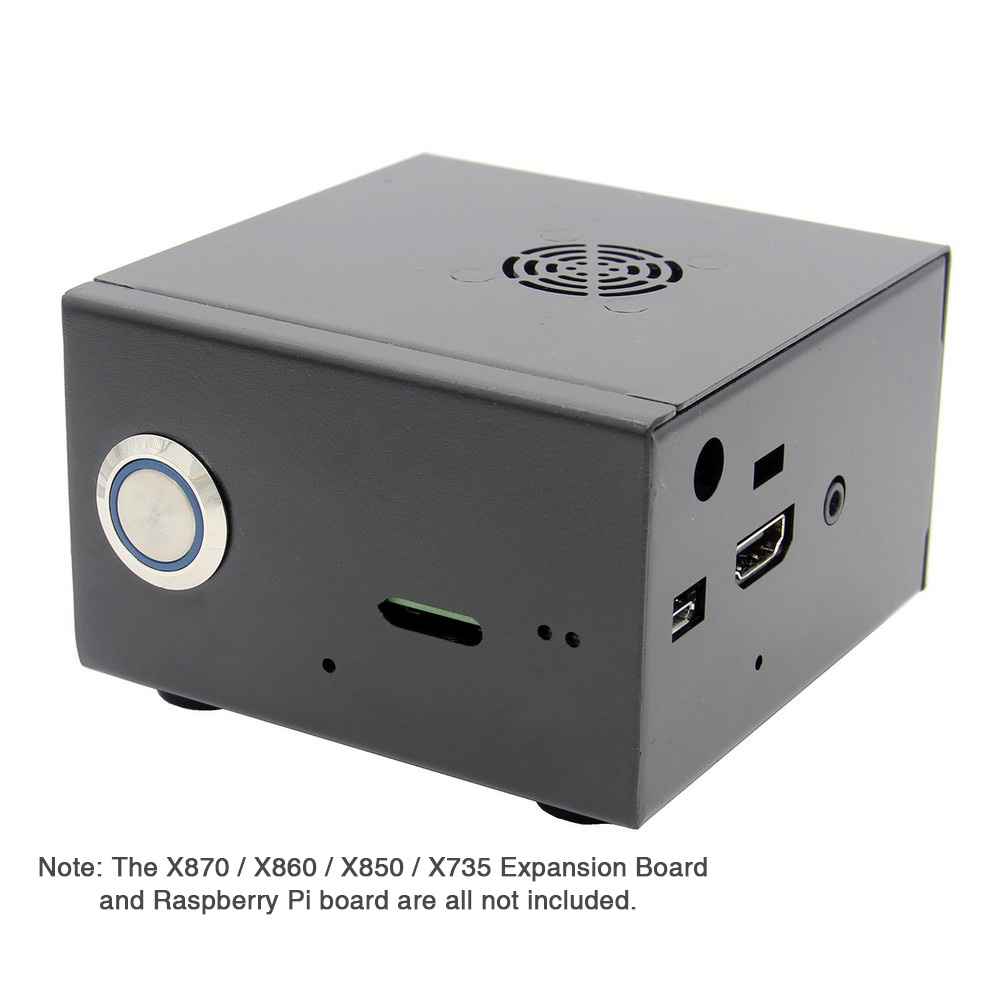 Raspberry Pi X850 V3.0 Matching Metal Case+Fan+Power Control Switch, Enclosure With Cooling Fan Kit For X870/X860 & X735 Board