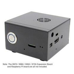 Raspberry pi x850 v3.0 correspondência caixa de metal + ventilador interruptor controle de potência, gabinete com kit ventilador de refrigeração para x870/x860 & placa x735