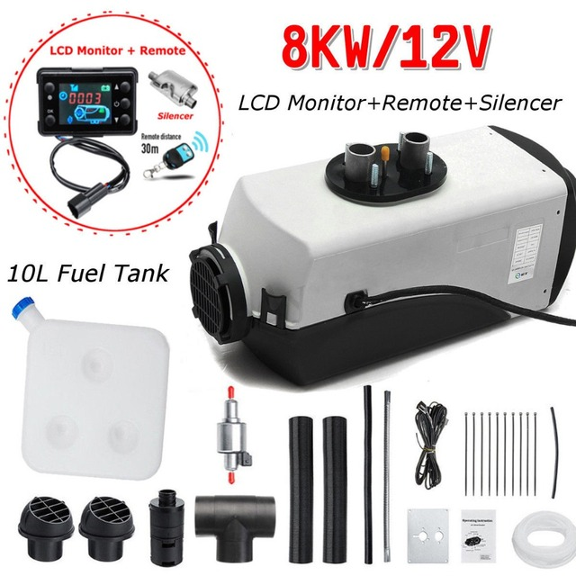 (Ship From DE)12V 8KW Air Diesel Heater Single LCD Monitor Remote Silencer Oil extractor Fuel Tank For Truck Boat Car Trailer