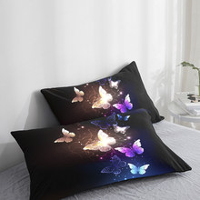 Custom Pillow Case Pillowcase 50x70 50x75 50x80 70x70 Decorative Pillow Cover butterfly on Black Wedding Bedding Drop Shipping(China)