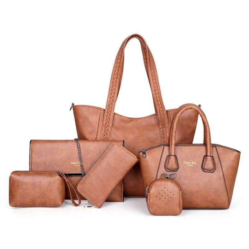6/шт композитная сумка большая женская сумка и сумки через плечо женские дизайнерские модные женские роскошные сумки 2019 сумки в роскошных с... - 4