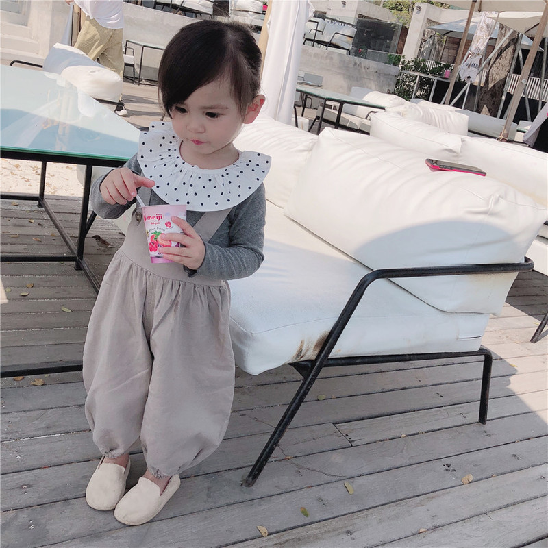 Spring 2019 New Baby Leisure Big pp Pants Girls Loose Leisure Cotton Pure Color Pants Children Clothing