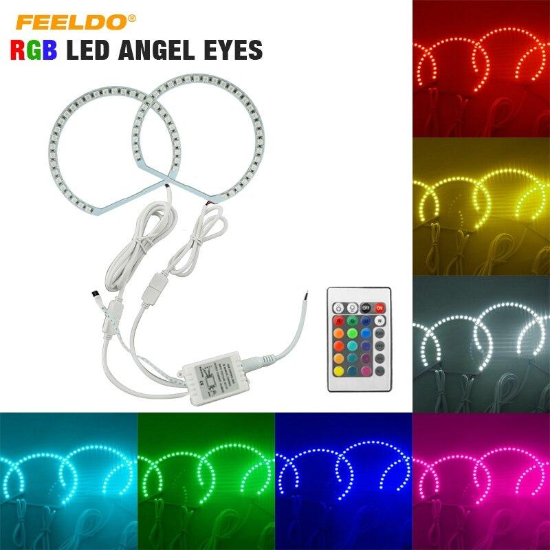 FEELDO 2X131mm Voiture RGB LED Ange Yeux Halo Anneau Éclairage Kit Sans Fil Télécommande Pour Hyundai Spectra 05 06 # HQ2913 dans Voiture Lumière Accessoires de Automobiles et Motos