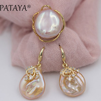 PATAYA New Natural Freshwater Irregular Pearls Open Gold Rings Zircon Earrings Sets Women Romantic Luxury Wedding Party Jewelry