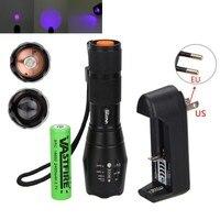 395nm UV Lanterna de Foco Ajustável LED 2x Roxo Ultravioleta Blacklight Torch para Detecção de Agente Fluorescente Profissional