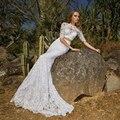 New Arrival Unique Lace 2 Pieces Wedding Dresses with Half Sleeve Sexy Long Bridal Gown Boho Vestido de Noiva