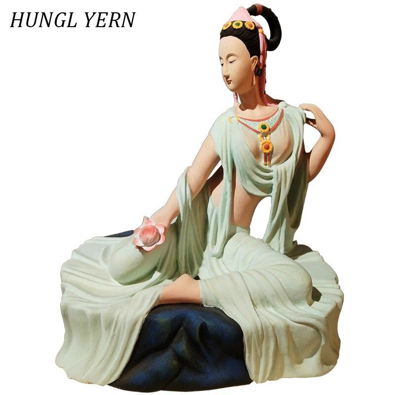 50cm Lakshmi Budas statues décor à la maison artisanat Sculpture buda estatua personnalisé sculpté artisanat brut laque bouddha statue inde style