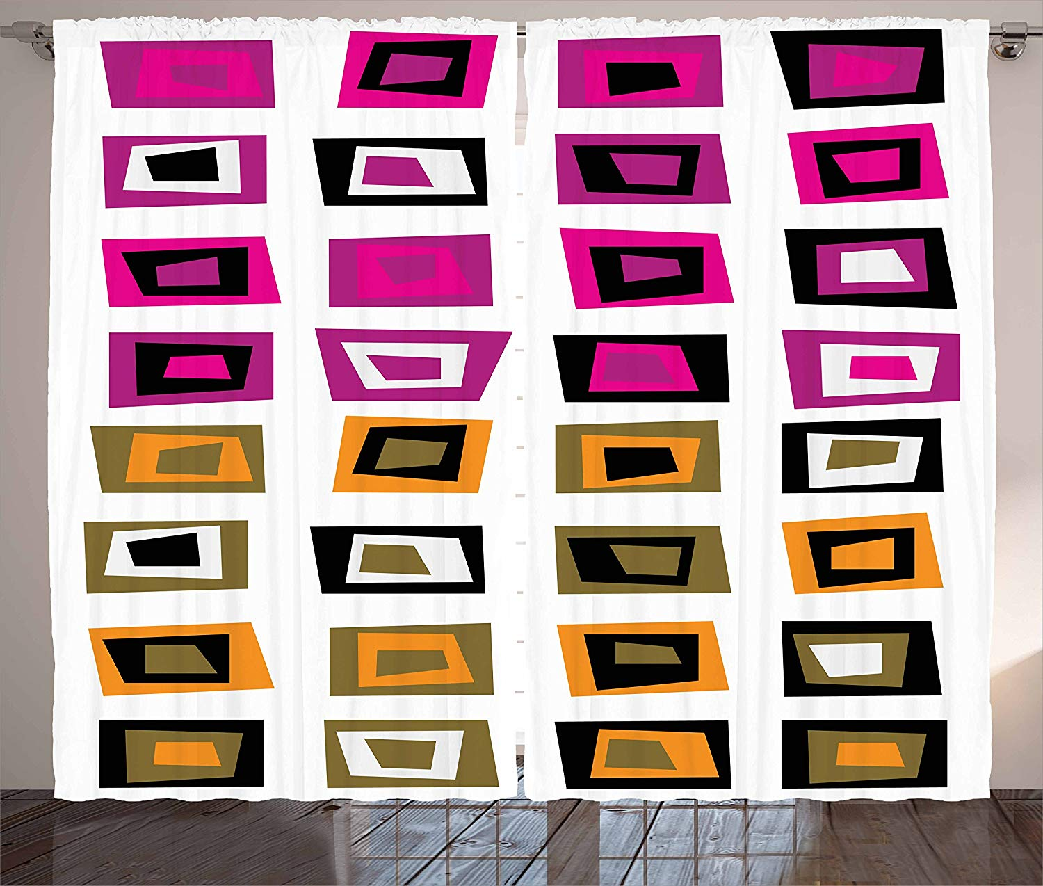 Retro Curtains Pattern With Abstract Squares With Inner Shapes In Contrast Colors Sixties Style Living Room Bedroom Window