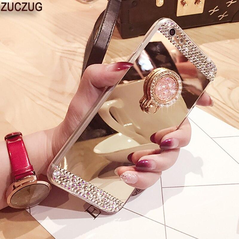 Para o iphone 8 5 6 7 s se x xs max xr caso glitter diamante 360 rotação anel suporte tpu caso espelho para iphone 7 8 plus strass