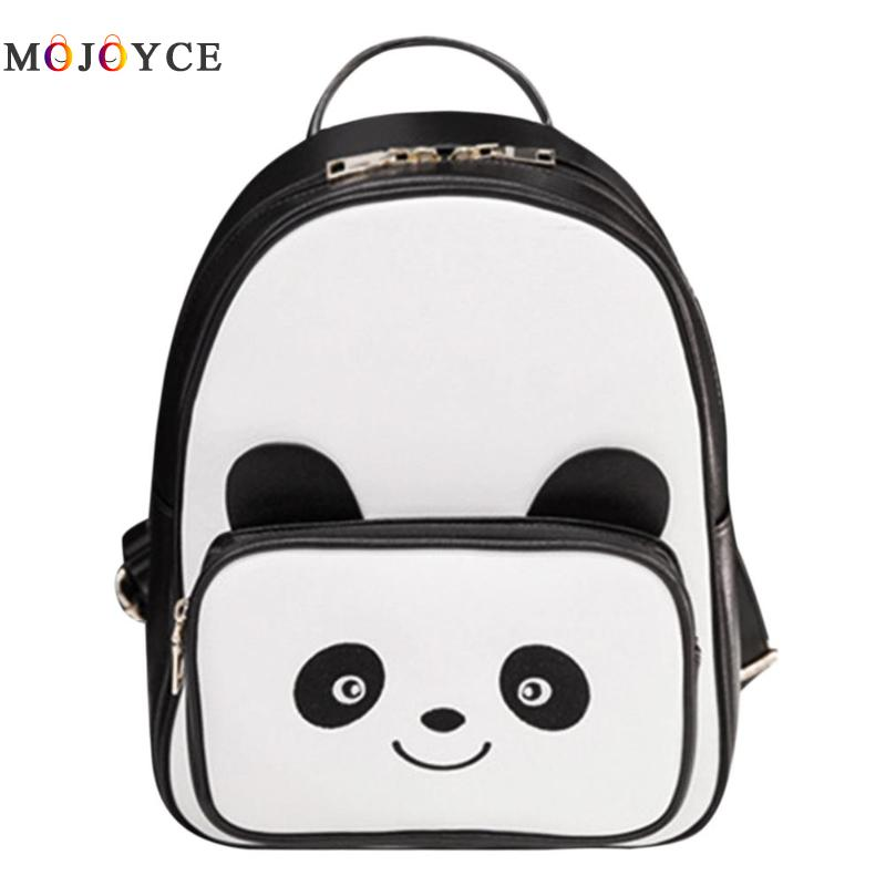 Women Backpacks Girls Lovely Cartoon Panda Pattern Pu Leather Shoulder School Backpacks Ladies Rucksack Mochila Feminina Bagpack