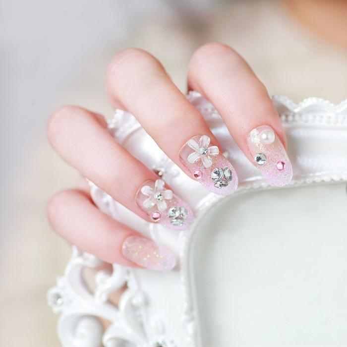 24 Pcs/Set French Bridal Wedding Flowers False Nails Nail Art Design Acrylic Full Fake Nail Tips with Glue SSwell-in Rhinestones & Decorations from ...