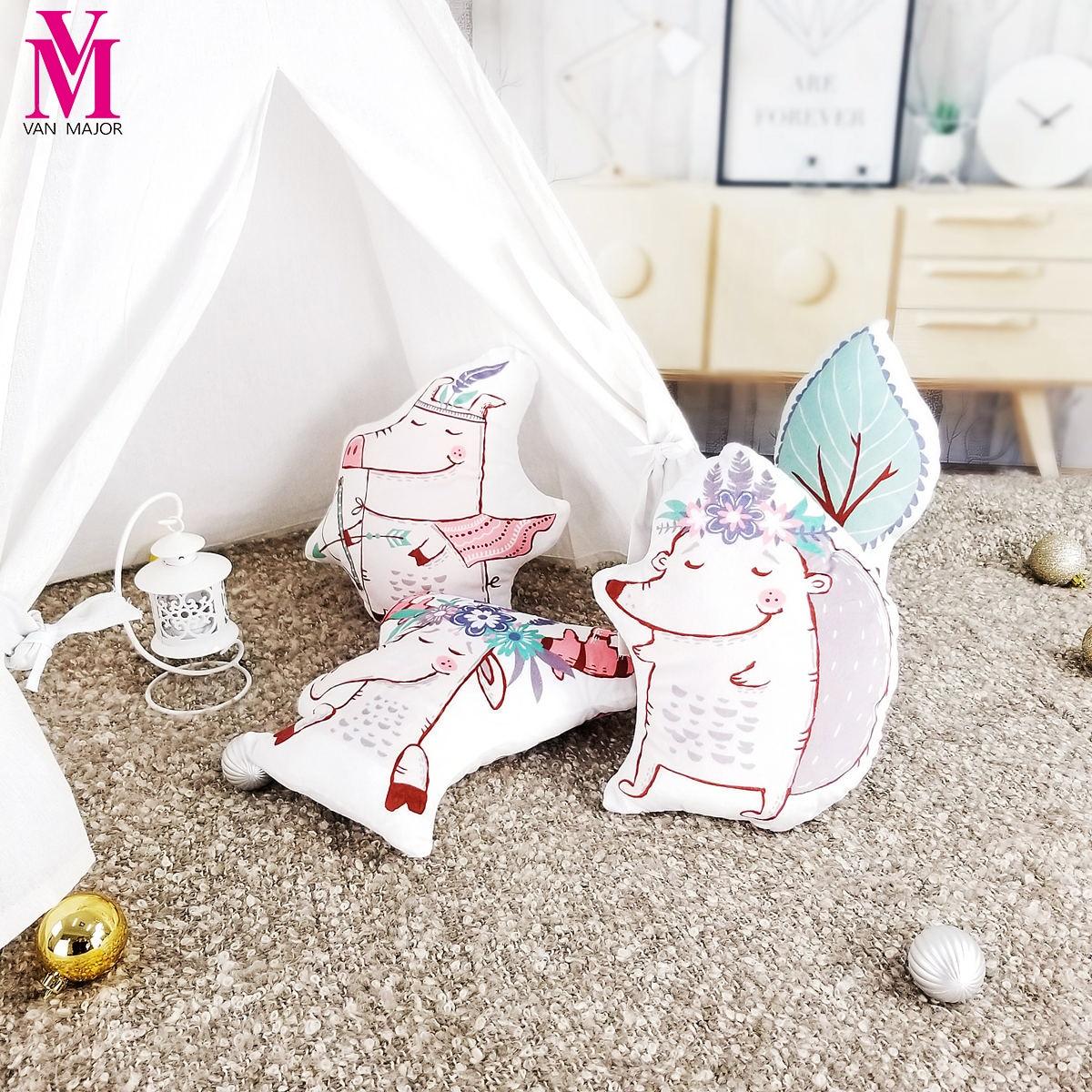 Tribal Cartoon Animal Hedgehog Elk Saplings Decoration Pillow Childrens Gifts