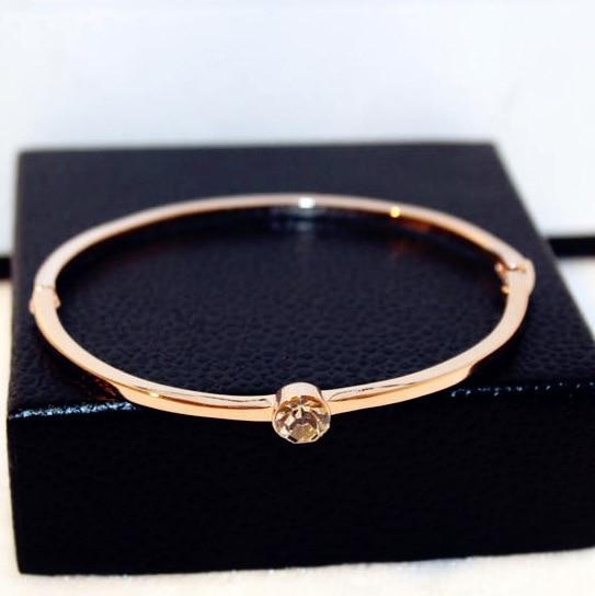 Rose gold-color simple zircon bracelet s