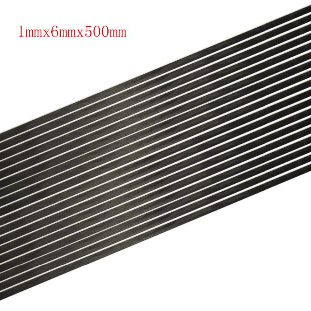 5pcs lot 1mmx6mmx500mm New Carbon Fiber Strip Flat Bar