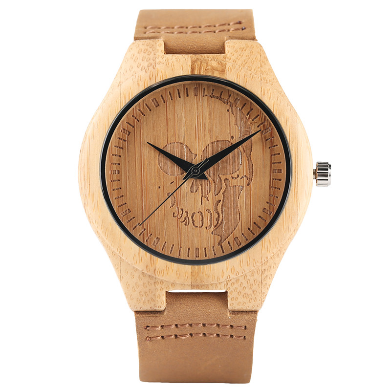 Cool Wood Wristwatch Big Punk Skull Carving Dial Minimalist Fashion Men Women Bamboo Watch Special Boys Girls Wooden Clock Gifts