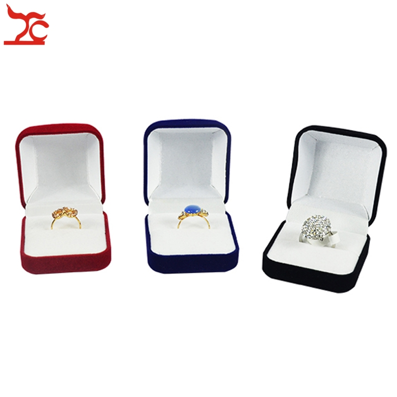 Retail Black/Red/Blue 4 Color Available  Blocked  Wedding Jewelry Earring Ring Storage Box Ring Earring Gift Package Box