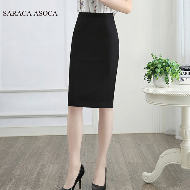4a55bd415 Plus Size 3XL 4XL Summer Formal Black Bust Skirt Lady High Waist Elastic  Fabric Knee-Length Slim Hip Pencil Work Skirt Women's