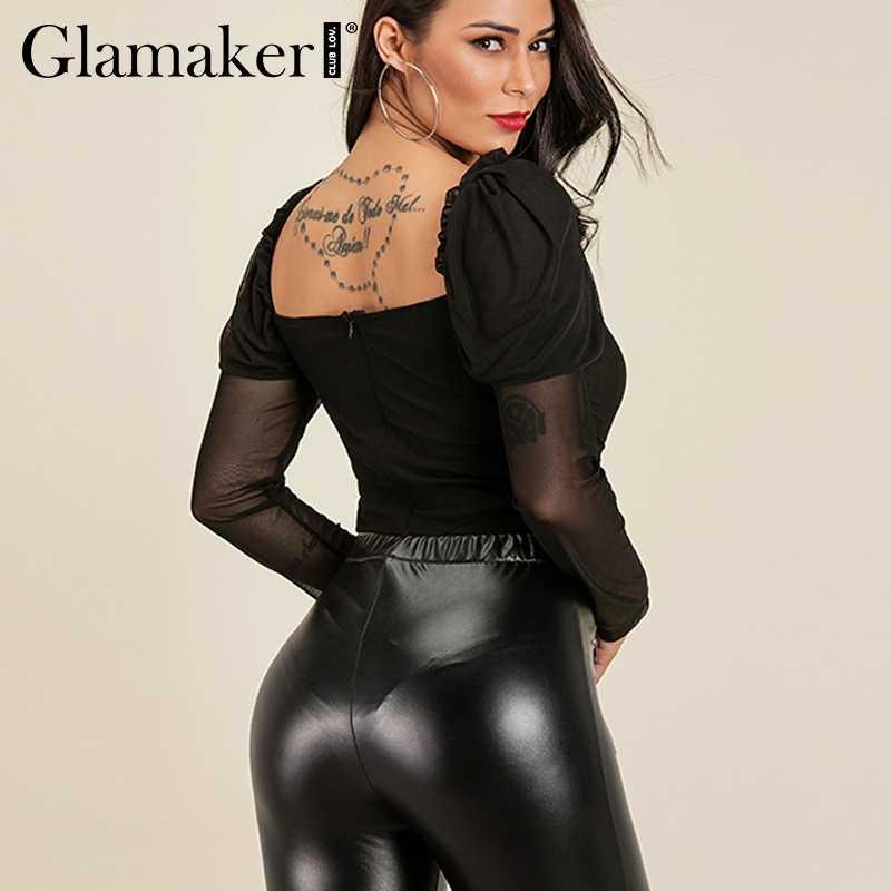 Glamaker прозрачный сетчатый черный сексуальный женский боди-костюм боди с длинными рукавами Комбинезоны женские летние элегантное боди комбинезоны