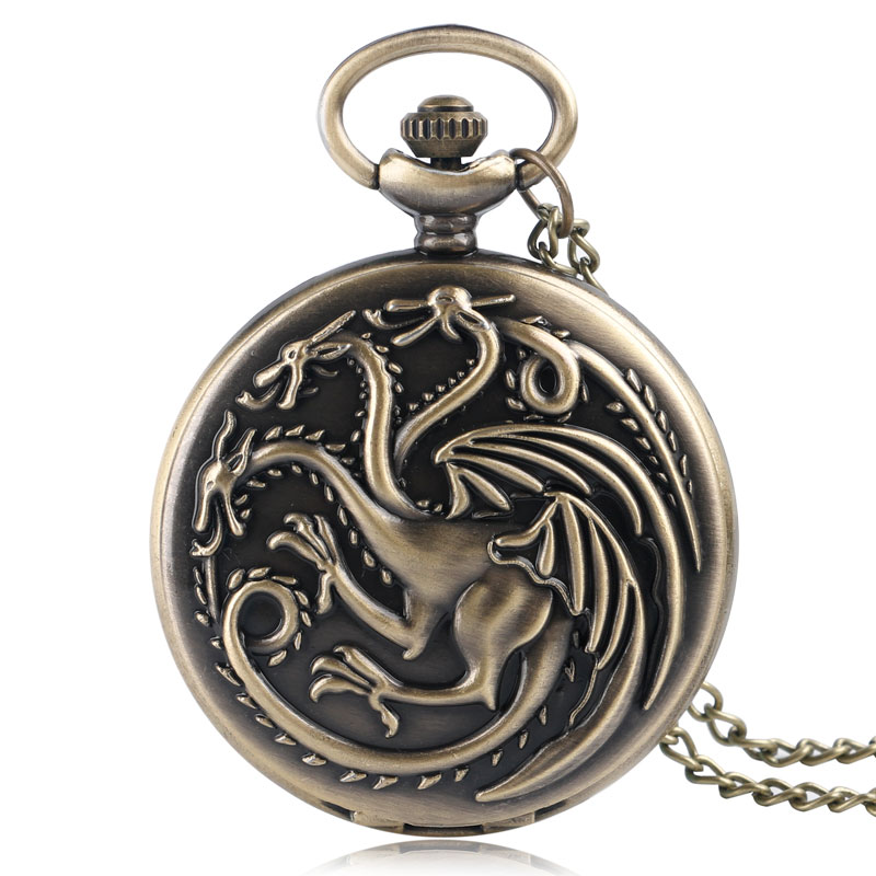Retro Bronze House Targaryen Drogan Design Fob Watches Game Of Thrones Theme Quartz Pocket Watch Necklace Chain For Gifts