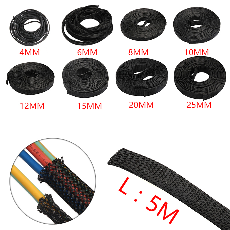 5M Black Insulation Braided Sleeving 4/6/8/10/12/15/20/25/30mm Tight PET Expandable Cable Sleeve Wire Gland Cables protection black wire spiral wrap sleeving band tube cable protector cable sleeve black wire protection spiral cable sleeve od 4 6 8 10 12