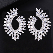 SisCathy 2019 New Hot Big Statement Earrings For Women Charm Shiny Cubic Zirconia Stud Wedding Jewelry Accessories