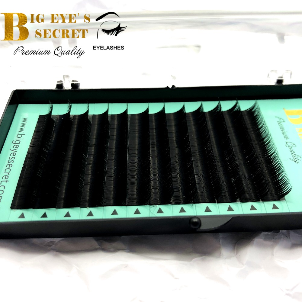 Individual Eyelashe Extension J/B/C/D curl All Size 8-15mm Black Fake False Silk Eyelashes Big Eyes Secret lashes Free shipping