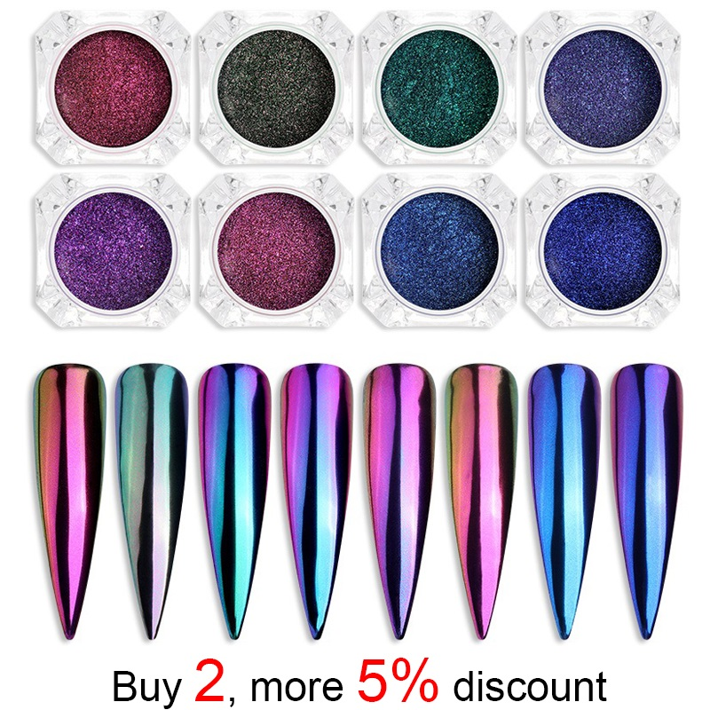 2019 Latest Design Pinpai Chrome Mirror Powder Nail Art Glitter Chameleon Pigment Powder Manicure Nail Tips Decoration Accessories Gel Polish Dust Superior (In) Quality