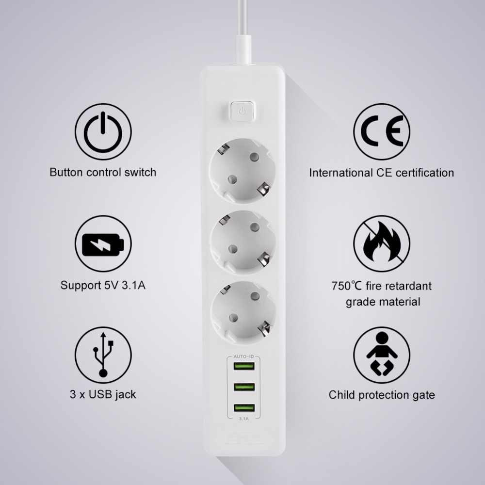 Filtr sieciowy 3 AC 3 listwa zasilająca z USB elektroniczny gniazdo biuro w domu zabezpieczenie przeciwprzepięciowe wtyczka EU szybkie ładowanie rozszerzenie inteligentne gniazdo