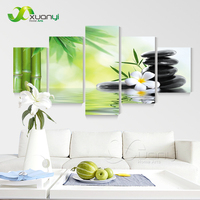 5 Panels Abstract Picture Zen Decor Bamboo Stones Painting Canvas Prints Art For Living Room Zen