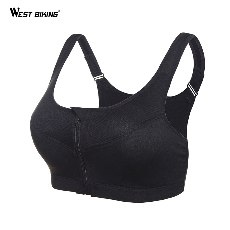 WEST BIKING Women Running Yoga Gym Fitness Front Zipper Bra Shakeproof Push Up Tank Top Racerback Padded Bicycle Bike Sports Bra