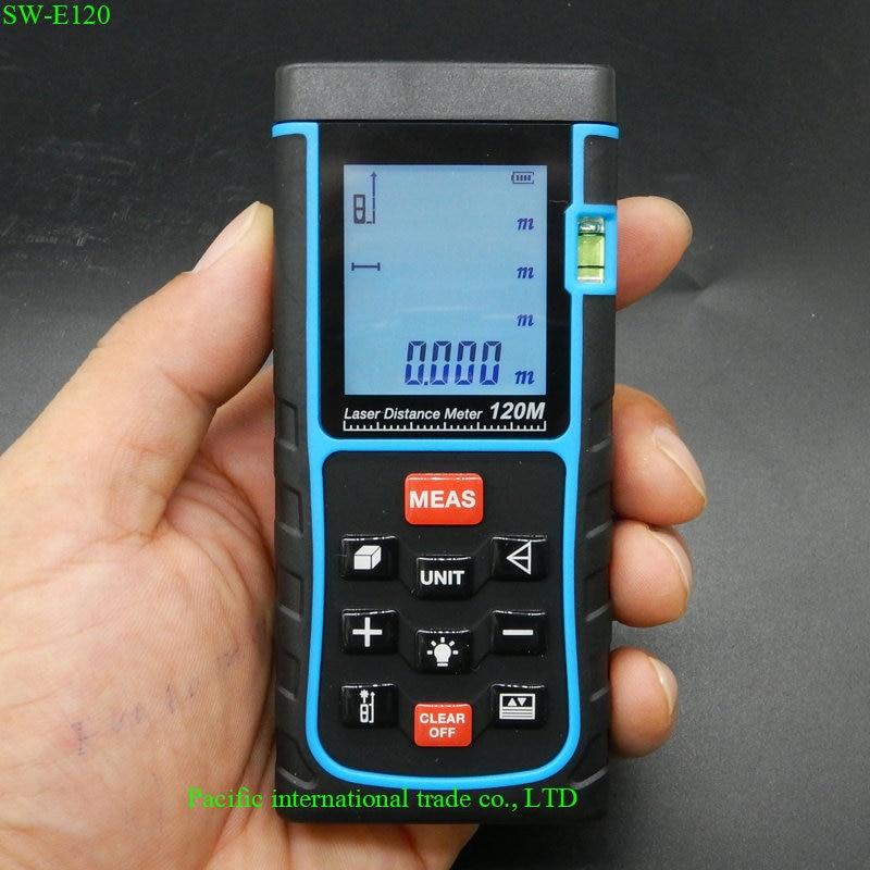 SW-E120 Digital Laser distance meter 120m 400ft Bubble level Tape measure Area/volume tool Rangefinder Range finder  цены
