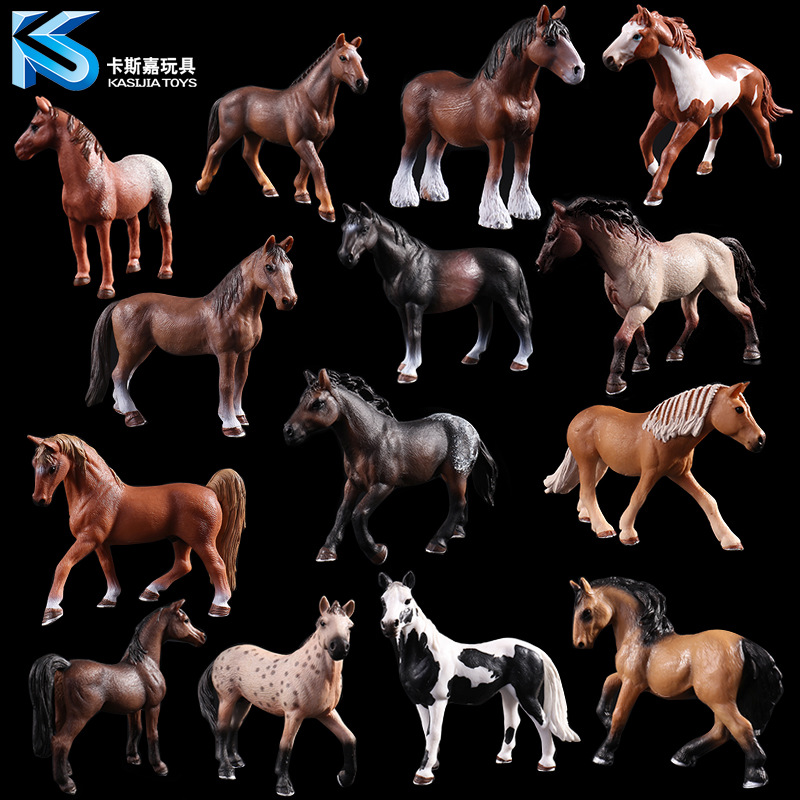 Children's Hand-made Wild Animal Model Solid Simulation Children's Toys 14 Optional White Horse Purebred Horse Black Horse Toy