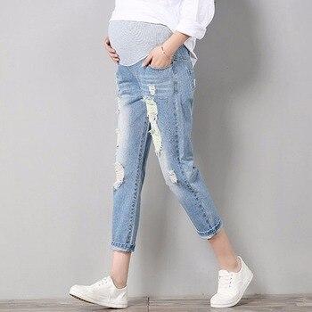 706183e24 Jeans maternidad cómodo de Denim de algodón azul pantalones de las mujeres embarazadas  pantalones de ropa de enfermería embarazo ropa overoles de chico